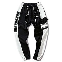 PUMA Fashion New Letter Print Sports Leisure Contrast Color Women Men Pants
