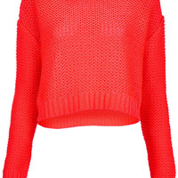 Knitted Fluro Pink Crop Jumper - Knitwear - Clothing - Topshop USA