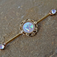 Gold Glitter Opal Industrial Barbell Scaffold Piercing 14ga Body Jewelry 316L Surgical Stainless Steel