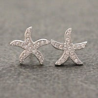 925 sterling silver pave cubic zirconia small starfish stud earrings