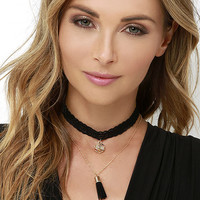 Staircase to Heaven Black and Gold Choker Necklace Set