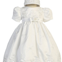 Girls Shantung Baptism Dress w. Cutwork & Floral Appliques 0-24m