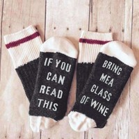 """SOCKS """"If You Can Read This Bring Me A Glass Of Wine"""""""
