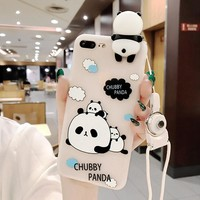 3D Cute Panda Case For iPhone 6 6S 7 Plus Silicon 3D With String