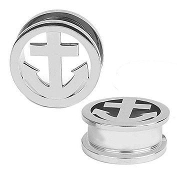 Nautical Anchor Plugs Stainless Steel Screw Fit Flesh Tunnel 2 Gauge - 22mm - 1 Pair