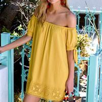 Moment in the Sun Mustard Yellow Lace Off-the-Shoulder Dress