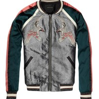 Silky Baseball Jacket With Oriental Embroideries - Scotch & Soda