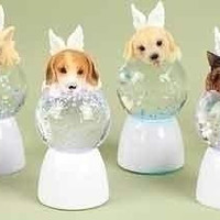 12 Angel Puppy Snow Globes - Feature 6 Different Puppy Breeds With Angel Wings