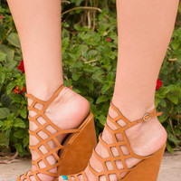 Strings Attached Wedges - Tan