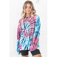Groovy Girl Purple And Blue Tie Dye Top