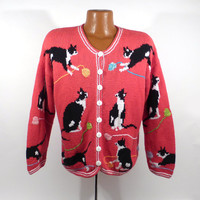 Ugly Christmas Sweater Vintage Cardigan Cat Holiday Tacky Party Women's