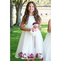 Silk & Tulle Floating Flower Petals Dress with Dress & Flower Petal Color Choices (Girls 2T - Size 12)