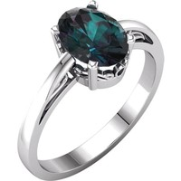 14kt White Gold Chatham® Created Alexandrite Oval Scroll Ring