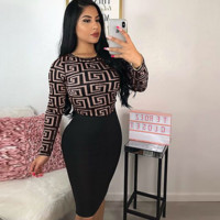 Versace Women Long Sleeve Bodycon Dress