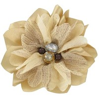Natural & Tan Satin Flower Clip with Bling | Shop Hobby Lobby