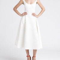White Scoop Neck High-Waisted Sleeveless Dress