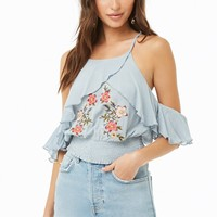Embroidered Floral Open-Shoulder Top