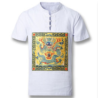 Men Cotton Linen Chinese Style Shirts Men's Casual Slim Fit Short Sleeved Shirt Camisa Hombre BL