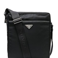 Wiberlux Prada Men's Triangle Logo Detail Zip-Top Crossbody Bag