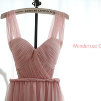 Blush Pink Chiffon Wedding Dress Bridesmaid Dress Prom Dress Sweetheart Open See Through Back