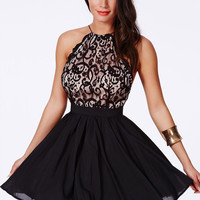 Black Semi Sheer Crossback Lace Fit and Flare Dress