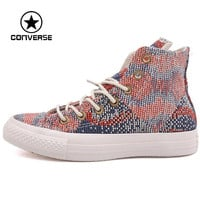 Original Converse women's  skateboarding shoes Canvas Printed Sneakers  free shipping