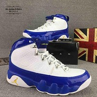 Nike Jordan 9 Trending Men Sport Basketball Running Sneakers Shoes White Blue I-CSXY