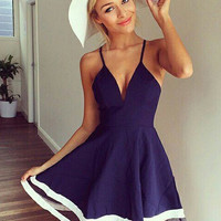 Blue Spaghetti Strap V-Neck with Mesh Accent Chiffon Mini Skater Dress