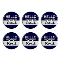 Raul Hello My Name Is Plastic Resin Button Set of 6
