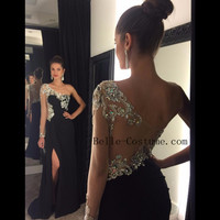 One Shoulder Prom Dress, Black Prom Dresses, Black One Shoulder Evening Dresses