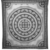 """Indian Art Black Beauty Elephant Mix Boheimen Wall Hanging Tapestry Size """"92x84"""" Inches."""