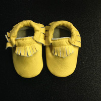 Baby Leather Moccasins, Lemon Yellow