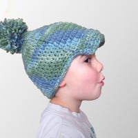 Crochet toddler ball hat with giant pom-pom and visor, child hat, blue green ombre, newsboy hat, READY TO SHIP