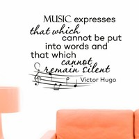 Wall Decals Quotes Victor Hugo Music Expresses That Which Cannot Decal Lettering Stickers Home Decor Art Mural Z786