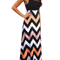 Zigzag Sleeveless Maxi Dress In Black