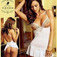 Classic white skirt with shoulder-straps lingerie appeal pajamas bride (Size: M) = 1929777860
