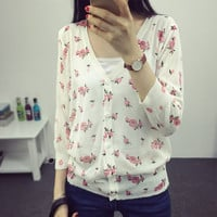 Floral printed Slim knit cardigan