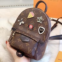 Hipgirls LV Louis vuitton Fashion new leather monogram print book bag backpack bag handbag  women