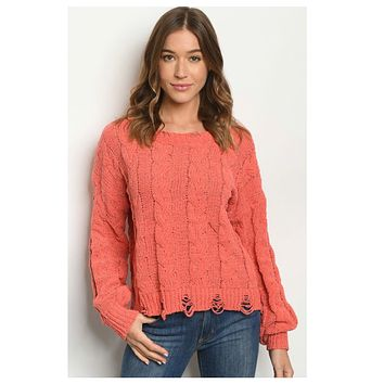 Cozy Soft Coral Distressed Sweater
