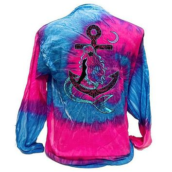Southern Attitude Tortuga Moon Mermaid Anchor Tie Dye Long Sleeve T-Shirt