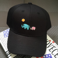 Black Elephant Embroidery Baseball Cap Unique Hat Summer Gift