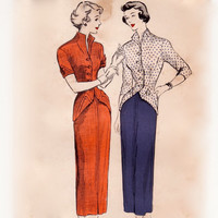Vintage 50s Sewing Pattern - 2 Pc Dress, Jacket Blouse with TurnBack Cuffs at Hip & Sleeve, Slim Skirt - Butterick 4831, Bust 32, Uncut