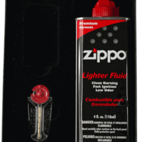 Zippo Slim Lighter Gift Kit-with 4oz Lighter Fluid, Flints