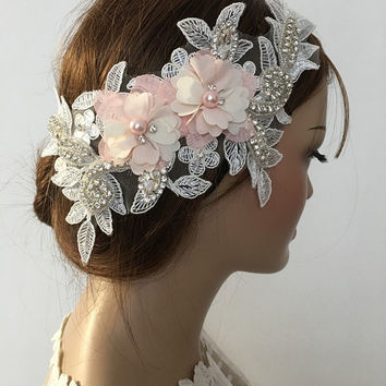 Bridal Lace Hair Piece, ivory salmon  3D Floral Wedding Headpiece, Bridal Lace Headpiece, Rhinestone hairpiece Bridal Hair, Accessories