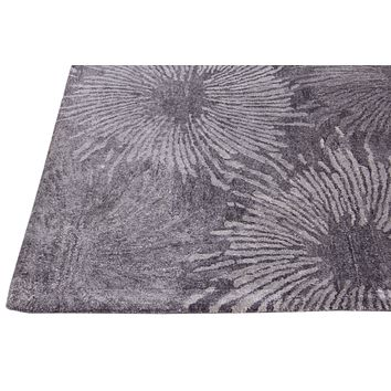 Abstract Charcoal & Multi Color Hand Tufted Modern Style Bamboo Silk Area Rug