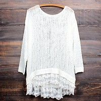 Final Sale - All Eyes On Me Lace Trim Sweater Tunic In More Colors