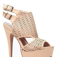 Nude Cut Out Double Sling Back Heels
