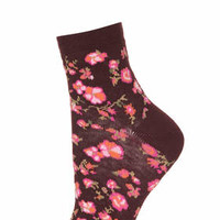 Burgundy Floral Ankle Socks - Burgundy
