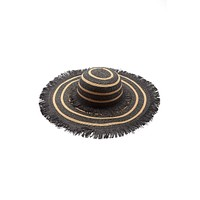 Mykonos Floppy Fringe Straw Hat - Black & Sand Brown Stripe Print