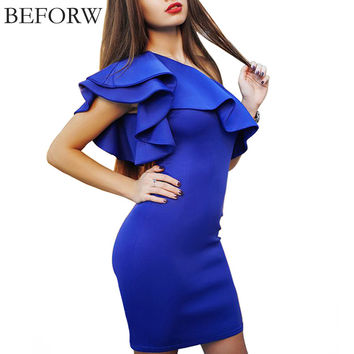Shoulder Flouncing Package Hip Slim Solid Color Fashion Sexy Casual Dress
